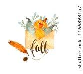 watercolor autumn nature... | Shutterstock . vector #1166898157