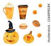 watercolor autumn nature... | Shutterstock . vector #1166898184