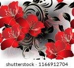 modern floral 3d red flowers... | Shutterstock .eps vector #1166912704