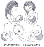 mother breast feeding and cute... | Shutterstock .eps vector #1166913241