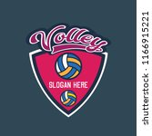 volley ball logo with text... | Shutterstock .eps vector #1166915221