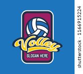 volley ball logo with text... | Shutterstock .eps vector #1166915224