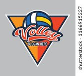 volley ball logo with text... | Shutterstock .eps vector #1166915227