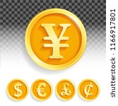 set of gold coins currencies... | Shutterstock .eps vector #1166917801