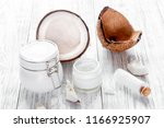 organic cosmetics with coconut... | Shutterstock . vector #1166925907