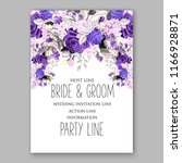 violet peony wedding invitation ... | Shutterstock .eps vector #1166928871