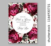 marsala peony wedding invitation | Shutterstock .eps vector #1166930731