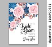 navy blue pink peony wedding... | Shutterstock .eps vector #1166930881