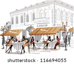 series of street cafes in the... | Shutterstock .eps vector #116694055