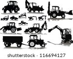 set of 13 silhouettes of a... | Shutterstock .eps vector #116694127