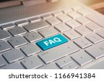 keyboard with faq button . blue ... | Shutterstock . vector #1166941384