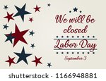 labor day  we will be closed... | Shutterstock .eps vector #1166948881