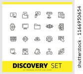 discovery icons. set of line... | Shutterstock .eps vector #1166950654