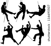 Rock Climber Silhouette On...