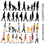isolated  walking people  flat ... | Shutterstock .eps vector #1166957134