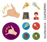 a pizza cutter  a slice  a menu ... | Shutterstock .eps vector #1166968984