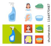 a cleaning woman  a housewife... | Shutterstock .eps vector #1166970487