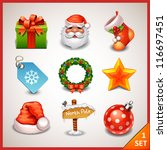 Christmas icon set-1 - stock vector