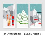 ski resort season is open ... | Shutterstock .eps vector #1166978857