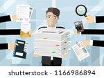 person at work multitasking ...   Shutterstock .eps vector #1166986894