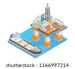 modern isometric offshore oil...   Shutterstock .eps vector #1166997214