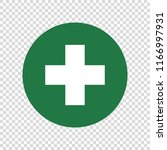 first aid sign. white cross on... | Shutterstock .eps vector #1166997931
