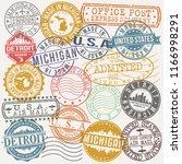 detroit michigan stamp vector... | Shutterstock .eps vector #1166998291