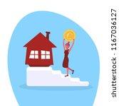 businesswoman climbing stairs... | Shutterstock .eps vector #1167036127