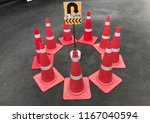 traffic red cones with u turn... | Shutterstock . vector #1167040594