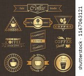 set of coffee labels. retro... | Shutterstock . vector #1167063121