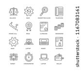 set of 16 simple line icons... | Shutterstock .eps vector #1167083161