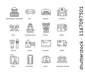 set of 16 simple line icons... | Shutterstock .eps vector #1167097501