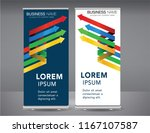 roll up banner colorful standee ... | Shutterstock .eps vector #1167107587