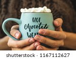blue mug with coffee  hot...   Shutterstock . vector #1167112627