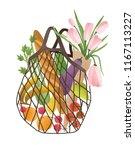 mesh or net bag full of healthy ... | Shutterstock .eps vector #1167113227