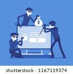 password hacking danger. masked ... | Shutterstock .eps vector #1167119374