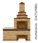 barbecue oven built of bricks... | Shutterstock .eps vector #1167125881