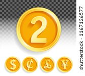 set of gold coins currencies... | Shutterstock .eps vector #1167126577