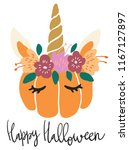 cute kawaii little pumpkin head ... | Shutterstock .eps vector #1167127897