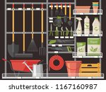 gardener shop or store showcase ... | Shutterstock .eps vector #1167160987