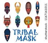 tribal wooden masks. set of... | Shutterstock .eps vector #1167161011