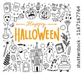 happy halloween icons set.... | Shutterstock .eps vector #1167167764