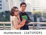 happy asian couples students or ... | Shutterstock . vector #1167193291