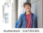 teenage boy with backpack... | Shutterstock . vector #1167201301