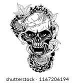 skull with chrysanthemum tattoo ... | Shutterstock .eps vector #1167206194