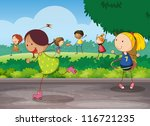 illustration of kids playing in ... | Shutterstock .eps vector #116721235