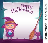 little girl in costume of witch ... | Shutterstock .eps vector #1167221071