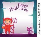 little kid in costume of devil... | Shutterstock .eps vector #1167221074
