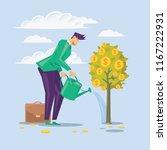 businessman pours money tree...   Shutterstock .eps vector #1167222931