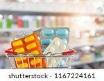 medicine pill tablet in... | Shutterstock . vector #1167224161